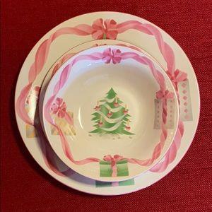Vintage Sango Christmas 3 Piece Setting '92